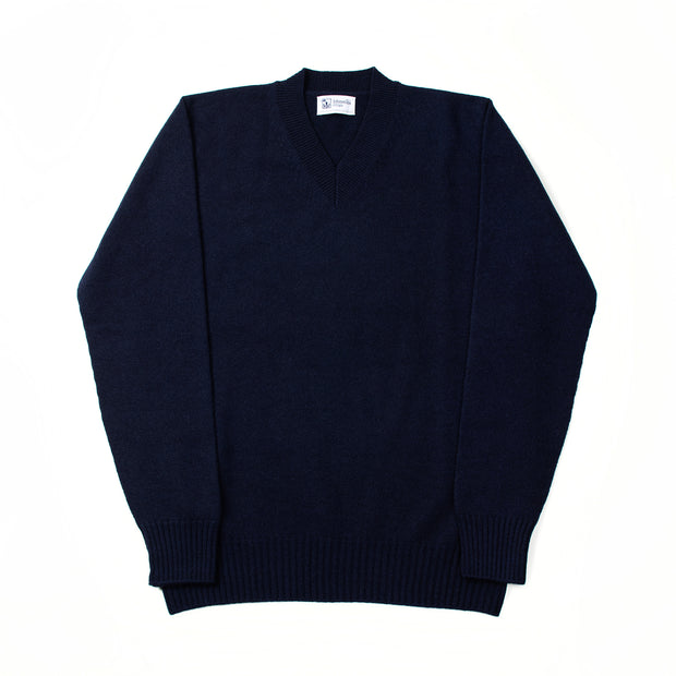 Cashmere High V-neck sweater - Navy
