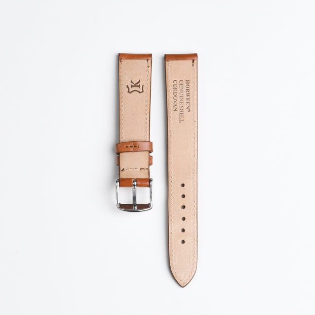 Horween Shell Cordovan Watch Strap 18mm - Amaretto
