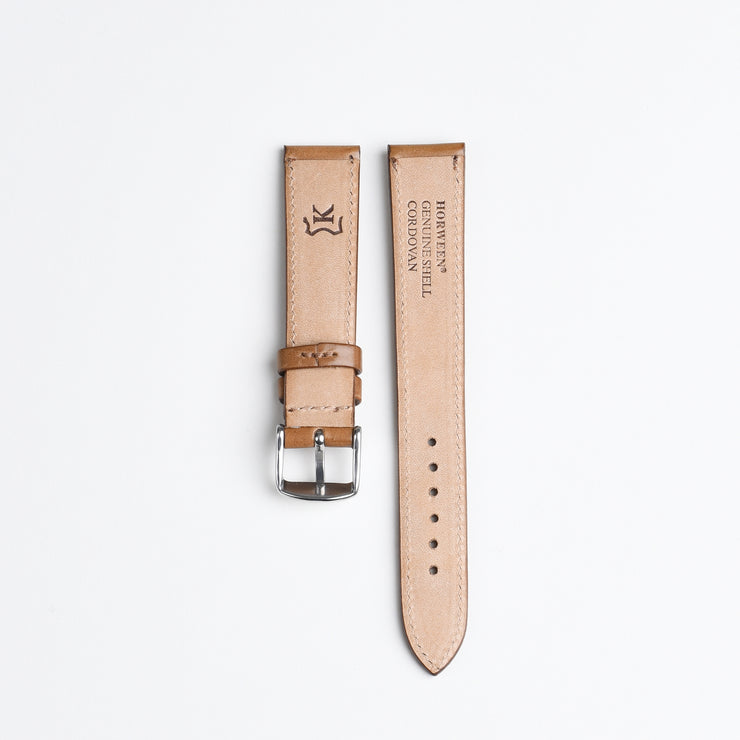 Horween Shell Cordovan Watch Strap 18mm - Bourbon