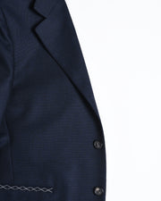 Single Breasted Blazer in Wool - Navy