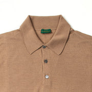 Long Sleeve Knitted Polo in Cashmere, Wool and Silk - Beige