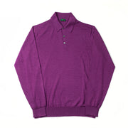 Long Sleeve Knitted Polo in Cashmere, Wool and Silk - Royal Purple