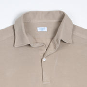Long-sleeved Cotton Knit Polo Shirt - Beige