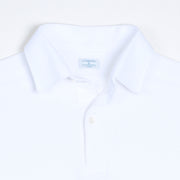 Long-sleeved Cotton Knit Polo Shirt - White