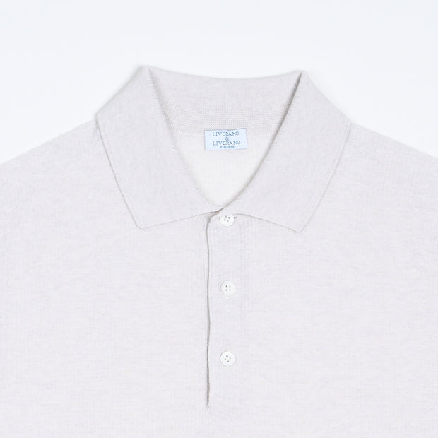 Waffle Cotton Knit Polo - Natural