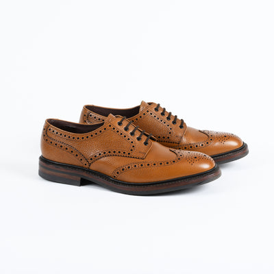 Badminton Wingtip Brogue in Tan Grain