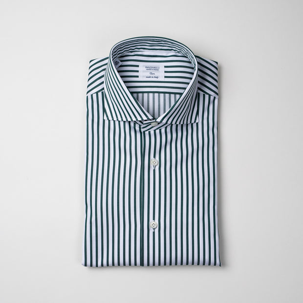 Dress Shirt in Green Stripe Twill
