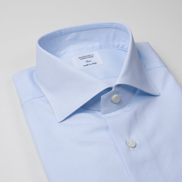 Dress Shirt in Light Blue Cotton Poplin