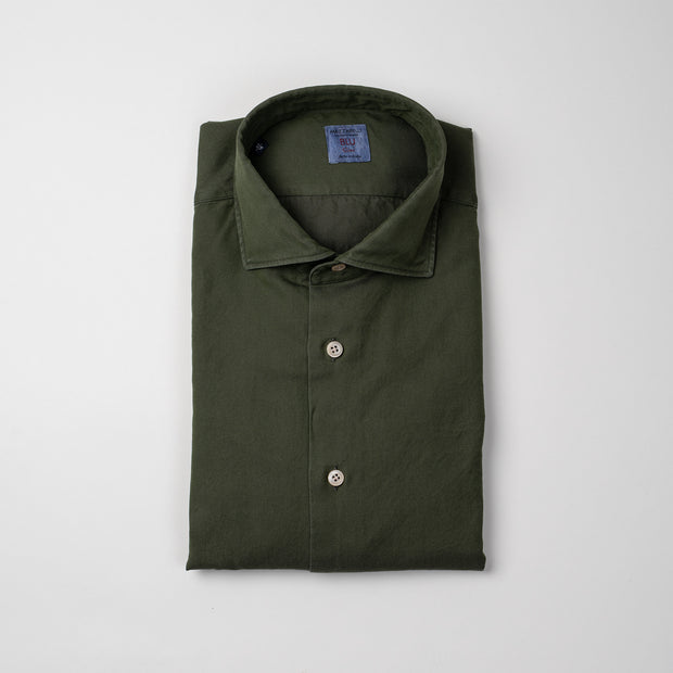 Casual Shirt in Olive Green Twill