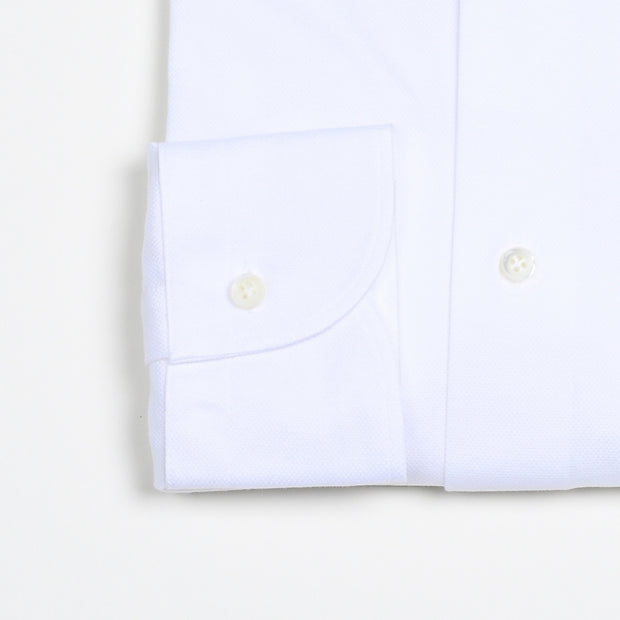 Cutaway Collar Pique Cotton Shirt - White