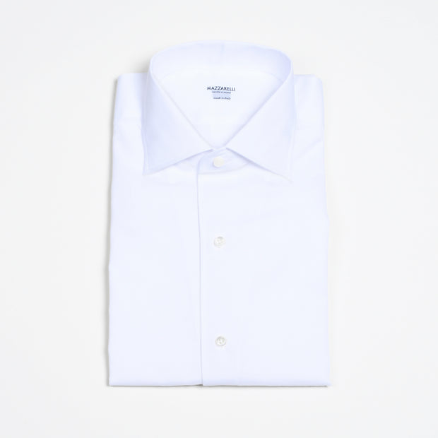 One piece Collar Bowling Shirt in Linen/Cotton - White