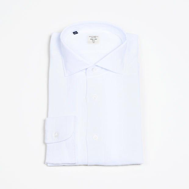 Cutaway Collar Shirt in Linen - White