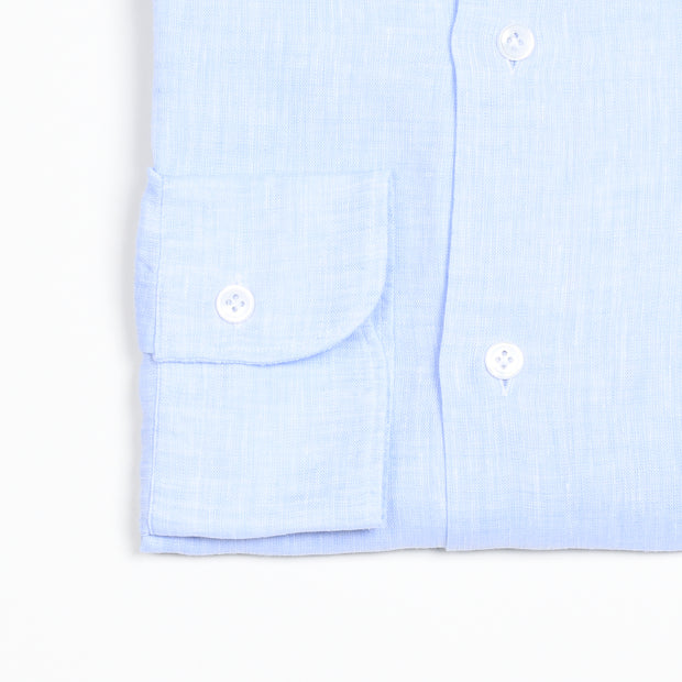 Cutaway Collar Shirt in Linen - Light Blue