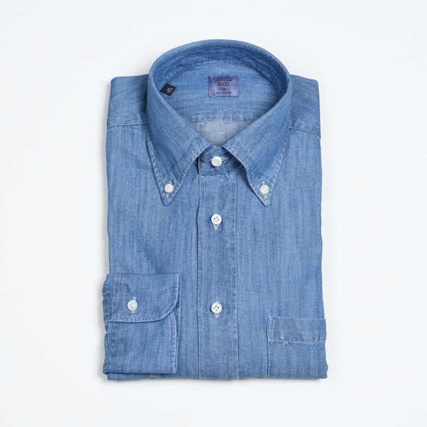 Button-down in Cotton Denim - Washed Indigo