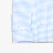 Button-down in Cotton Gingham - Light blue/White