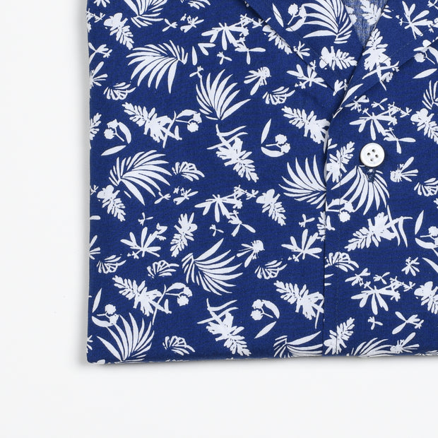 Camp Collar Hawaii Shirt Cotton Leaves Print - Blue