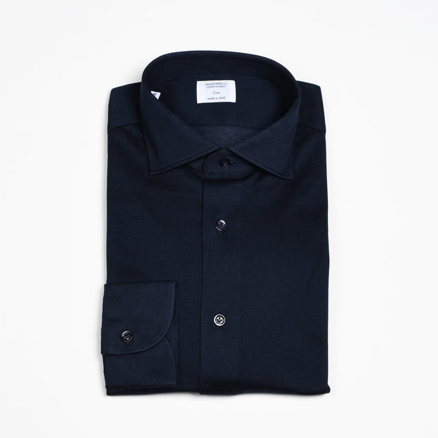 Cutaway Collar Pique Cotton Shirt - Navy