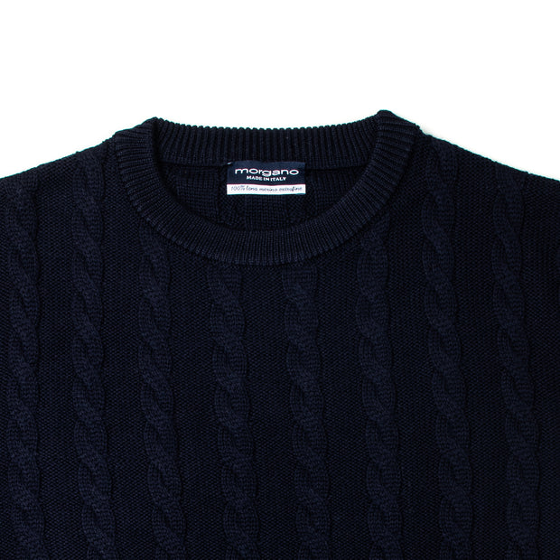 Cable Knit Crewneck in Navy