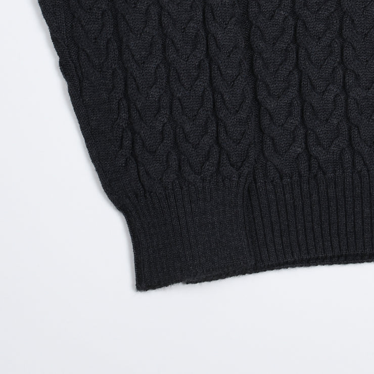 Cable knit roll-neck - Charcoal