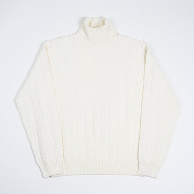 Cable knit roll-neck - Cream