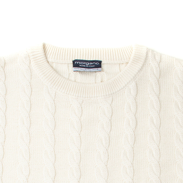 Cable Knit Crewneck in Ecru
