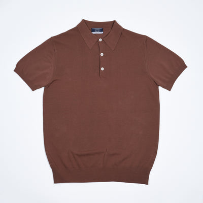 Egyptian Cotton Crepe Polo - Chestnut