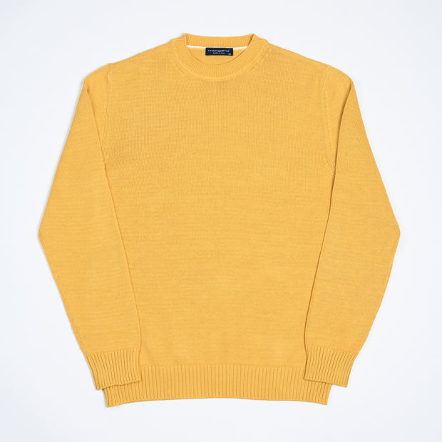 Single Knit Cotton Crewneck - Ochre