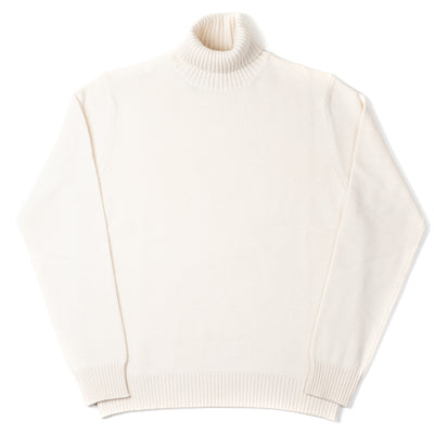 Roll-neck in Cashmere and Merino - Natural