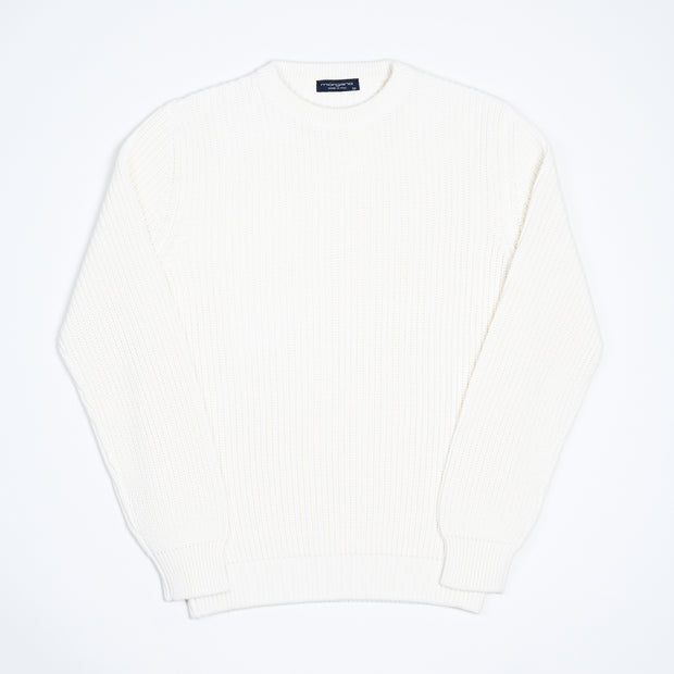 Chunky Cotton 1x1 rib Sweater - White