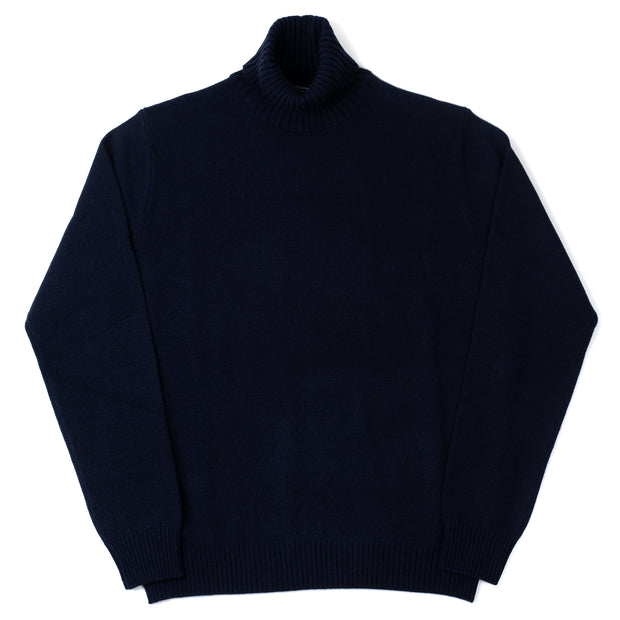Roll-neck in Cashmere and Merino - Navy