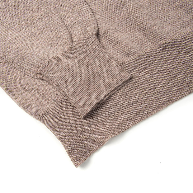 Long Sleeve Knitted Polo Extrafine Merino - Beige