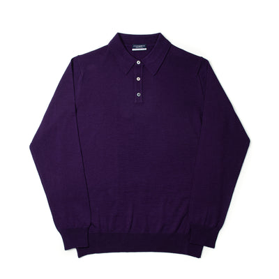 Long Sleeve Knitted Polo Extrafine Merino - Violet