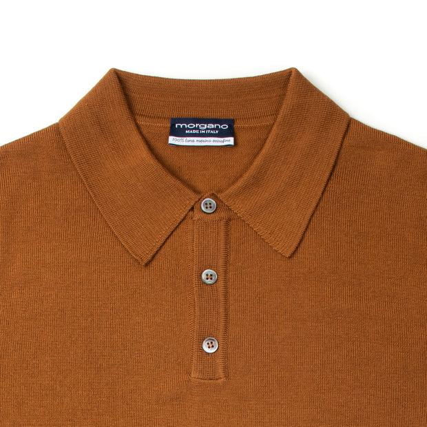 Long Sleeve Knitted Polo Extrafine Merino - Cognac