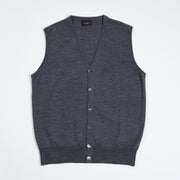 Sleeveless Cardigan in Merino Wool - Mid Grey