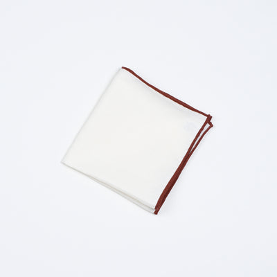 Pocket Square in Linen - White / Burgundy edges