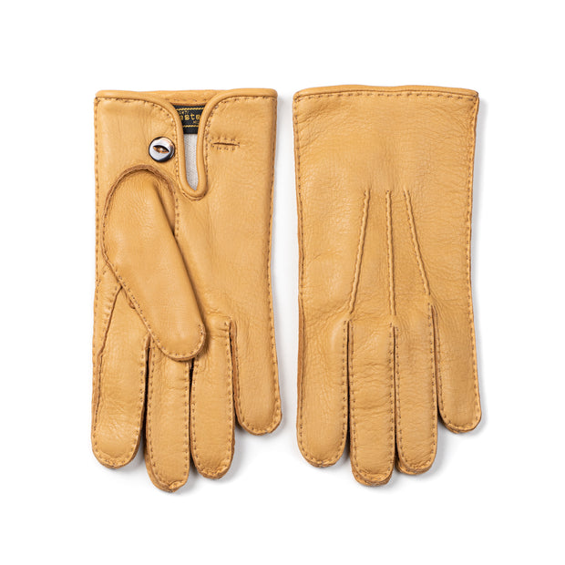 Deerskin Leather Glove with Button - Natural Tan