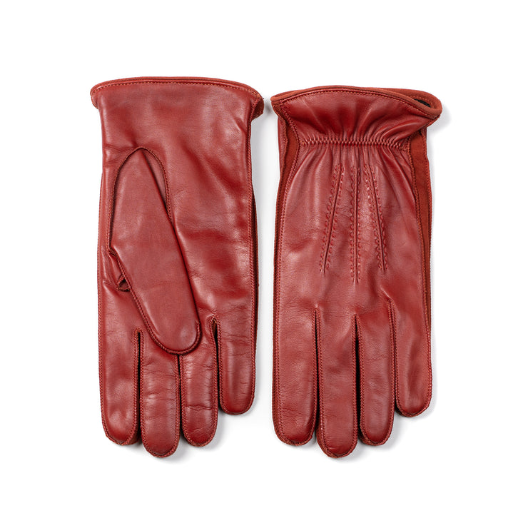 Lambskin leather glove with Suede inserts - Mattone