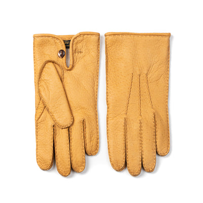 Peccary Leather Glove with Button - Cork