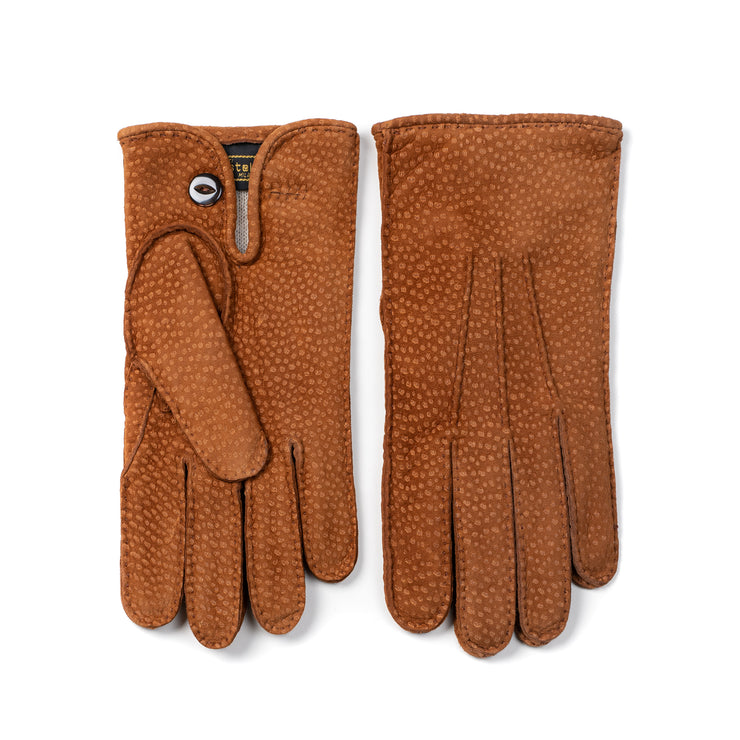 Peccary Suede Leather Glove with Button - Polo Brown