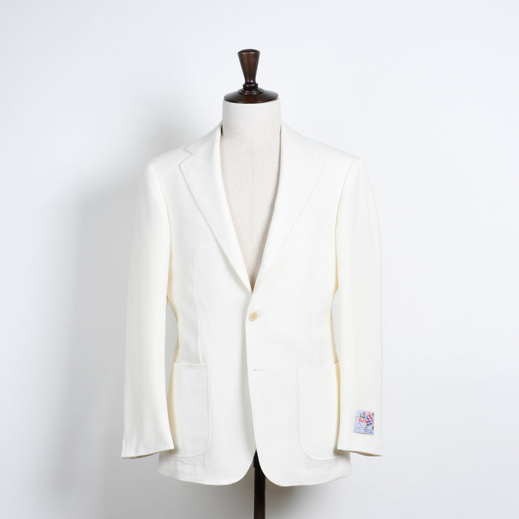 Hopsack Sport Jacket in Wool - Cream