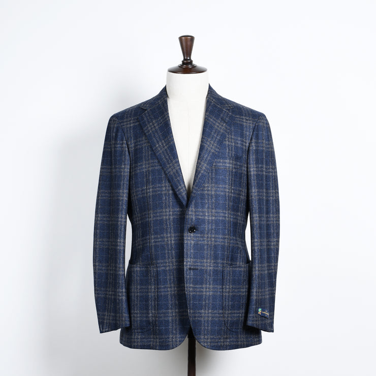 Broad Windowpane Check Sport Jacket in Wool - Blue / Grey
