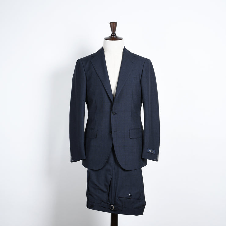Glen Plaid Suit in Wool and Mohair - Dark blue
