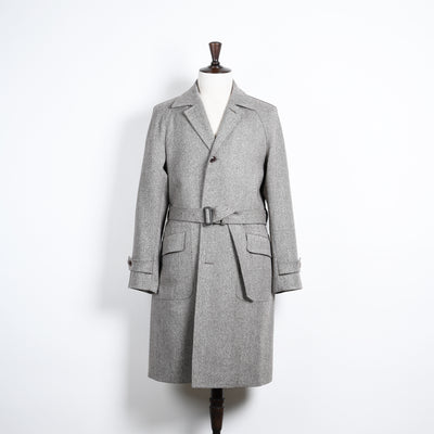 Belted Raglan Coat in Wool Herringbone - Natural