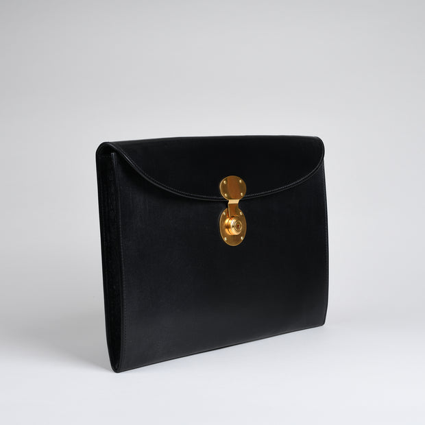 Suede Lined 806 Lock Folio in English Bridle Leather - Black