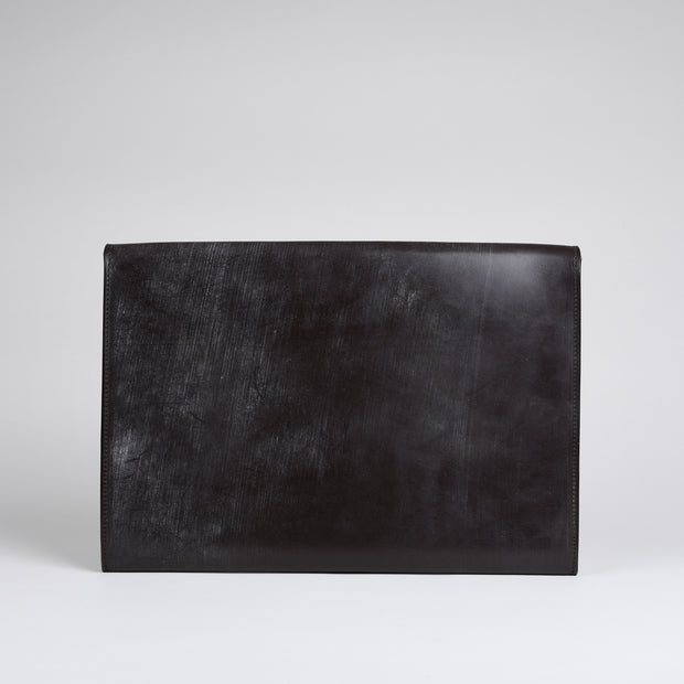 Suede Lined 806 Lock Folio in English Bridle Leather - Chocolate