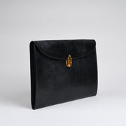 Suede Lined 808 Lock Folio in English Bridle Leather - Black