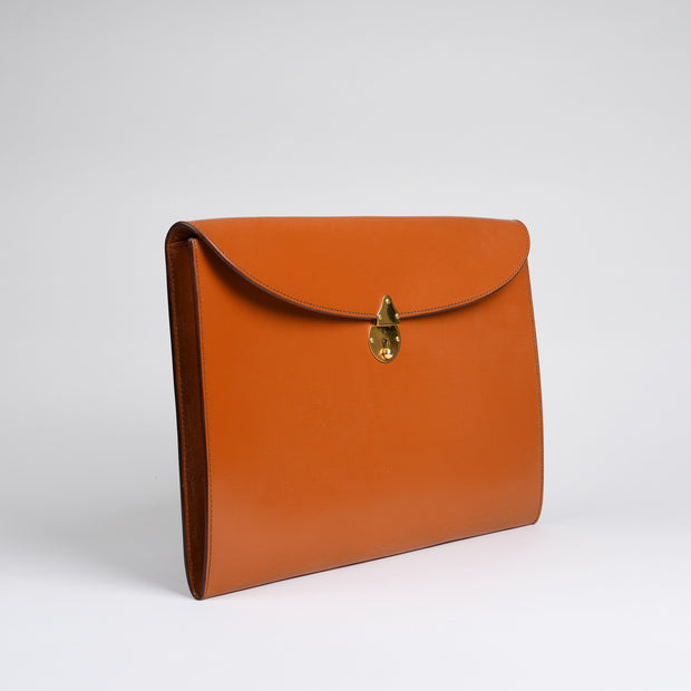 Suede Lined 808 Lock Folio in English Bridle Leather - Conker