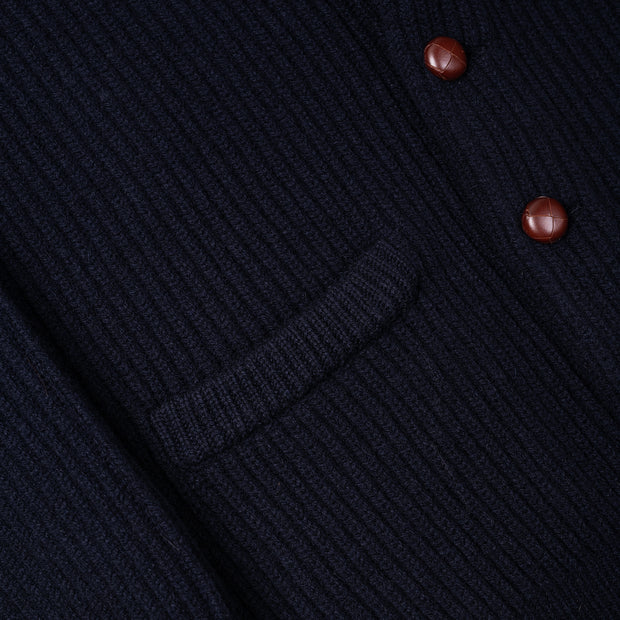 Geelong Lambswool Shawl Collar Cardigan - Navy