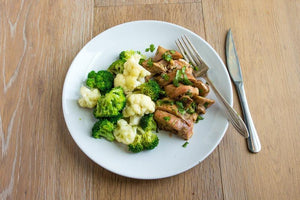 Balsamic Chicken served with Organic Sweet Potatoes, Cauliflower and Apples - AIP -  True Fare