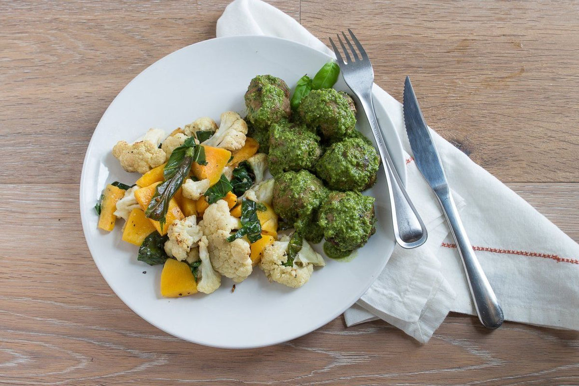 Turkey Meatballs with Kale Pesto served with Organic Butternut Squash, Cauliflower and Collard Greens - AIP Individual Meals True Fare